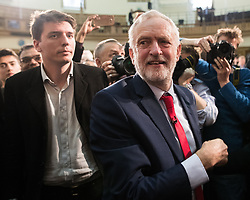 © Licensed to London News Pictures . 20/04/2017 . London , UK . JEREMY CORBYN and JAMES SCHNEIDER (l) leave after Corbyn delivers a speech to launch the Labour Party's campaign in the 2017 General Election , at Church House in Westminster . Photo credit: Joel Goodman/LNP