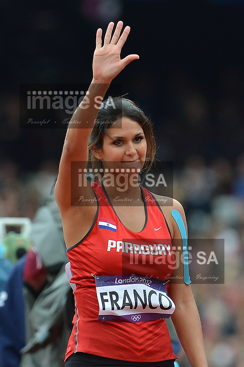 LONDON, ENGLAND - AUGUST 7, Paraguayan beauty and javelin thrower, Leryn Franco, in the qualifying round during the morning session of athletics at the Olympic Stadium  on August 7, 2012 in London, England.Photo by Roger Sedres / Gallo Images