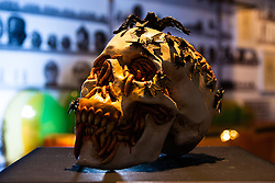 """London, March 4th 2015. Sotheby's in London hosts """"one of the most extraordinary collections of our time"""", an anonymous collector's vast assembly of fine art pieces, including skulls, bear sculptures, paintings and installations. PICTURED: """"Migraine"""" by Jake and Dinos Chapman, which is expected to fetch between £20-30,000,"""