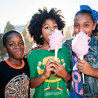 Kids enjoy cotton candy at the Berklee Jazz Festival in Boston's South End.