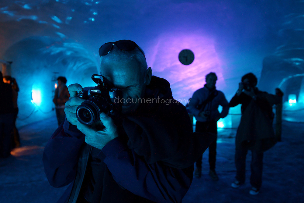 SONY DSC.The Sony Football Twilight crew (football team, photo competition winners, producers...) on a visit to La Mer de Glace near Chamonix on aclimitise day of the Sony Football Twilight event.