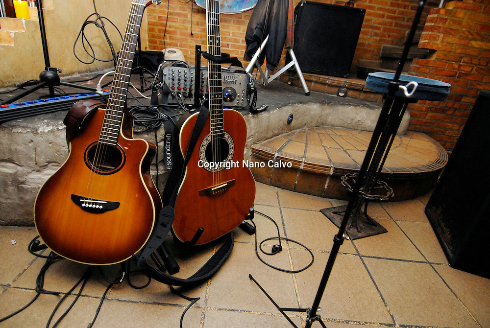 Classic guitars in a live music bar of Santa Eulalia, Ibiza, Spain Photo by Nano Calvo - Visual&Written
