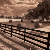 Infrared photo of hay field and fence color