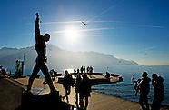 Freddie Mercury Standbeeld aan het Meer van Genève op het Place du Marché in Montreux