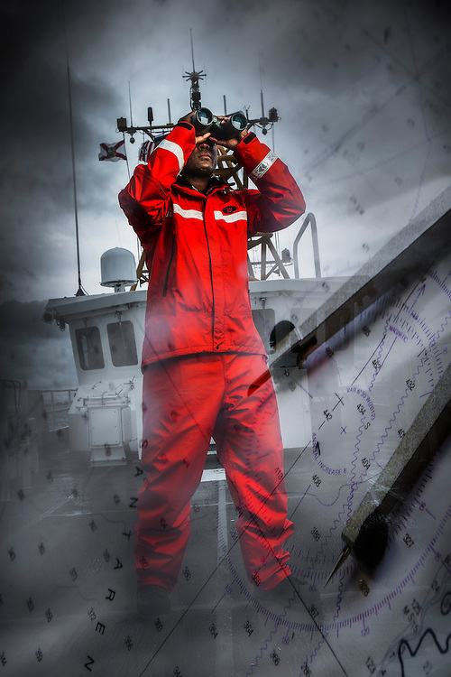 Coast Guard cutter at sea searching