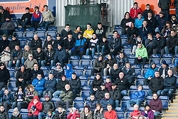 Fans in the South stand during the first half.<br /> Falkirk 1 v 0 Queen of the South, Scottish Championship game today at the Falkirk Stadium.<br /> &copy; Michael Schofield.