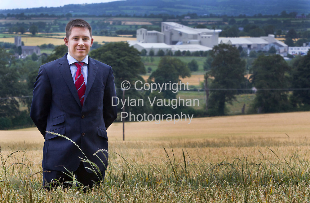 21/7/2011.Gareth Connolly pictured with Connollys Red Mills, Goresbridge, Co Kilkenny in the background..Picture Dylan Vaughan.