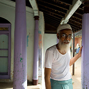Mr. Mohammed Hussein seated on the 'thinnai' of his beautiful home on Thallaimattu Street, in Nagore.