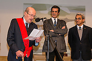 "Movie director Manoel de Oliveira (left) in the ceremony where he receives de distinction of ""Grand Officier de la Légion d'Honneur"" by the French Ambassador in Portugal, Jean-François Blarel (not in photo) : State Secretary of Culture Jorge Barreiro Xavier (right) and Oporto's mayor Rui Moreira (center)"