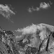 Half Dome Cloud Bursting - Yosemite Valley Meadow - Yosemite - Black & White