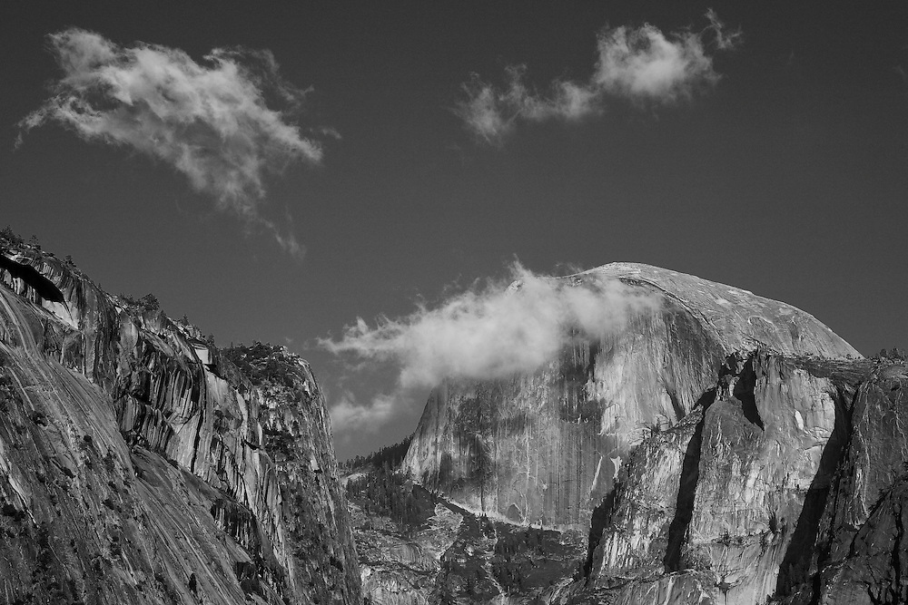 Half Dome Cloud Bursting - Yosemite Valley Meadow - Yosemite - Black & White