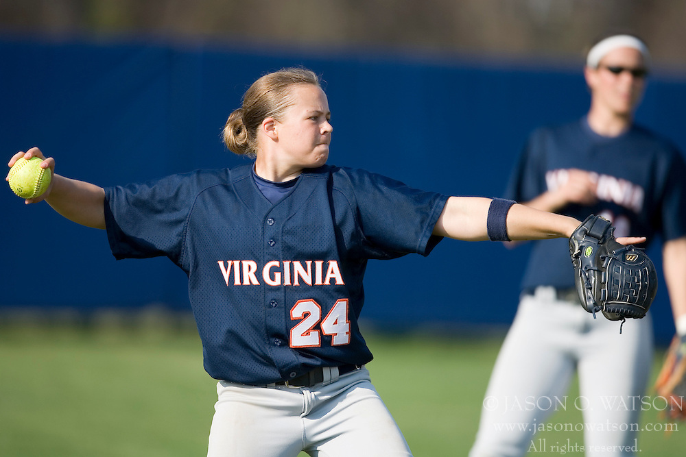 Virginia Cavaliers SS/2B Kierstie Cameron (24) in action against UMD.  The Virginia Cavaliers softball team fell to the Maryland Terrapins 8-3 in the second game of a doubleheader at The Park in Charlottesville, VA on March 24, 2007.