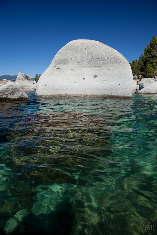 """""""Boulders at Lake Tahoe 8"""" - These boulders were photographed from a kayak early in the morning at Lake Tahoe, near Speed Boat Beach."""