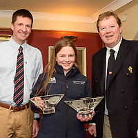 Erin Mcilwaine, Winner  Overall and ist Girl ,Topper Winter Championships at Royal Cork. Photographed with Pat Horgan Class Captain  Toppers RCYC and Admiral John Roche who presented the Prizes.
