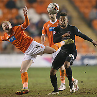 Football-Blackpool v Charlton Athletic-Sky Bet Football League Championship-Bloomfield Road-17/03/2015-Pictures by Paul Currie-KEEP-Charlton Athletics Jordan Cousins and Blackpool's David Perkins in action