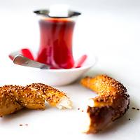 Turkish tea and simit, Corum, Turkey September, 2013
