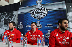May 29; Newark, NJ, USA; New Jersey Devils right wing Steve Bernier (18), New Jersey Devils center Ryan Carter (20) and New Jersey Devils right wing Stephen Gionta (11) during Stanley Cup Finals media practice day at the Prudential Center.