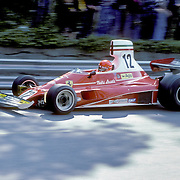 Austrian driver his handles his Ferrari during the training sessions of the 1975 Spanish Grand Prix