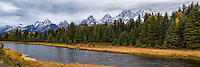 Panoramic view of Schwabacher Landing in Grand Teton National Park on an early Fall morning as the clouds blanket the sky.