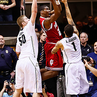 WEST LAFAYETTE, IN - JANUARY 30: Remy Abell #23 of the Indiana Hoosiers shoots the ball over Anthony Johnson #1 of the Purdue Boilermakers at Mackey Arena on January 30, 2013 in West Lafayette, Indiana. Indiana defeated Purdue 97-60. (Photo by Michael Hickey/Getty Images) *** Local Caption *** Remy Abell; Anthony Johnson