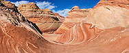 Panoramic view of the uniquely eroded sandstone formation known as the Wave in the Paria Canyon