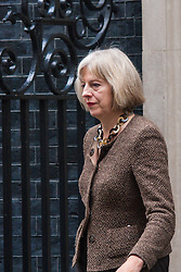 London, September 1st 2014.  Home Secreatry Theresa May leaves Downing Street after senior Tories met with Prime Minister David Cameron ahead of his addr4ess to Parliament on increased anti-terror measures. PAYMENT/CONTACT DETAILS: paul@pauldaveycreative.co.uk Te' +44 (0) 7966 016 296 or +44 (0) 208 969 6875