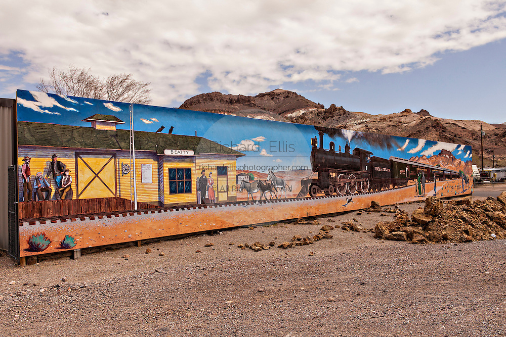 Mural honoring the the old Las Vegas and Tonopah Railroad in Beatty, NV.