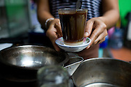 Dark and delicious, Lao 'bag coffee' with sweetened condensed milk at Kung's Cafe Lao.