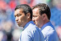 ROTTERDAM - Feyenoord - SC Heerenveen , Stadiond de Kuip , Voetbal , Eredivisie Play-offs Europees voetbal, seizoen 2014/2105 , 24-05-2015 , Feyenoord trainer Giovanni van Bronckhorst (l) samen met Feyenoord assistent trainer Jean Paul van Gastel (r)