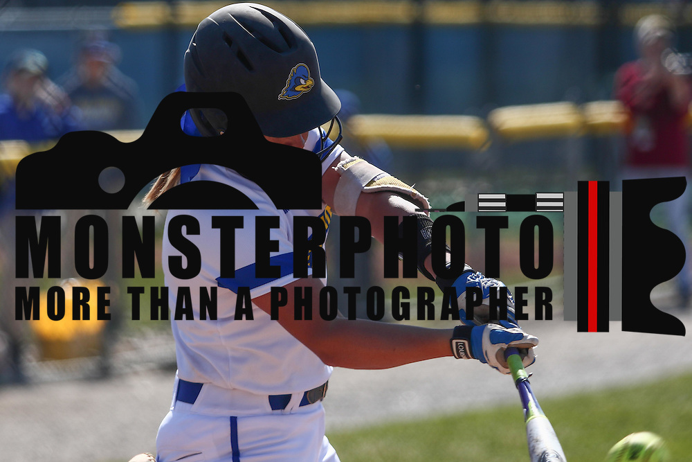 Delaware Outfielder Shelby Jones (3) singles during a Colonial Athletic Association regular season softball game between Delaware and Hofstra Saturday, April 16, 2016, at Delaware softball stadium in Newark, Delaware.