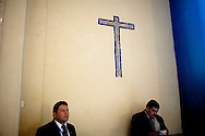 Members of President Alan Garcia's protective force stand guard during Easter mass in La Catedral de Lima on Sunday, Apr. 12, 2009 in Lima, Peru.