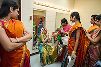 Lincroft, New Jersey, 9/20/14: Backstage before her arangetram, Hema Ramaswamy receives encouragement from friends.