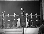 09/04/1961<br /> 04/09/1961<br /> 09 April 1961<br /> Opening of Thurles Drama Festival at Premier Hall, Thurles, Co. Tipperary, organised by Muintir na T&iacute;re and Gael Linn.  The Archbishop of Cashel Thomas Morris address's the crowd at the play .Presidnt de Valera third from left.