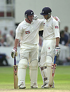 Photo Peter Spurrier.31/08/2002.Cheltenham & Gloucester Trophy Final - Lords.Somerset C.C vs YorkshireC.C..Yorkshire batting;  Matt Elliott. and Antony McGrath, left