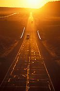 Old Route 66 at sunset, Near Seligman, Arizona, USA.