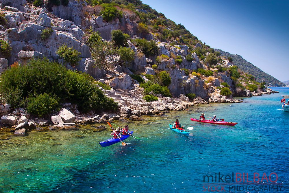 People and kayak. Kekova island. Antalya province. Mediterranean coast. Turkey.