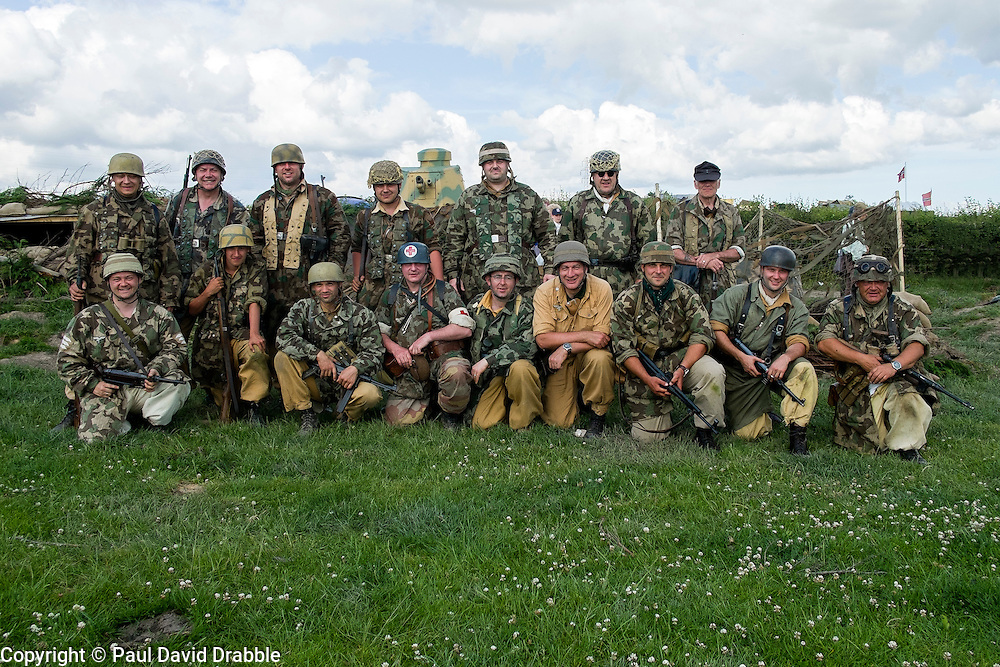 World War Two re-enactors protraying members of the 1 fallschirmj&auml;ger Division 3 fallschirmj&auml;ger Regiment also known as the green devils in tropical uniform on the Gothic line Italy during the Yorkshire War Experience at Hunsworth near Bardford West Yorkshire.  <br /> 04 July 2015<br />  Image &copy; Paul David Drabble <br />  www.pauldaviddrabble.co.uk