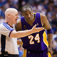 09 June 2009: Kobe Bryant of the Los Angeles Lakers talks to official Joe Crawford during game 3 of the 2009 NBA Finals won 108-104 by the Orlando Magic over the Los Angeles Lakers at Amway Arena, in Orlando, Florida, USA.