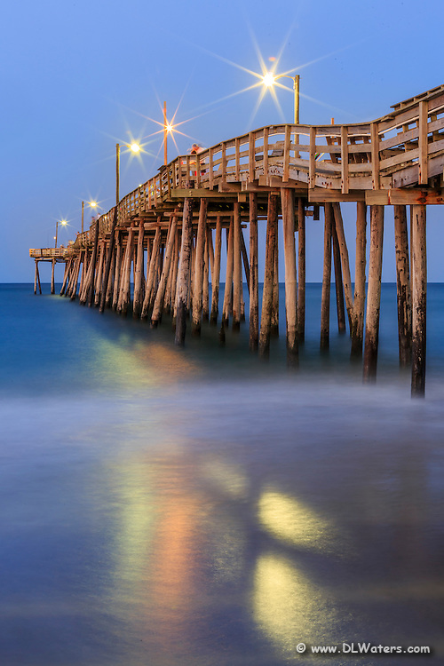 Nags Head Fishing Pier at twilight on the Outer Banks.