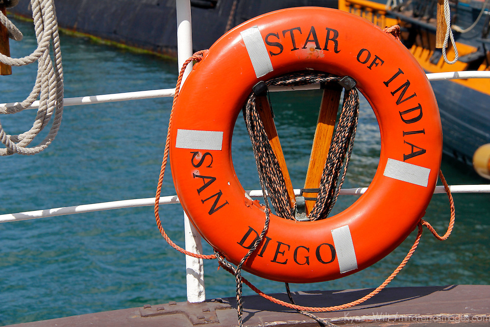 USA, California, San Diego. Life Preserver of Star of India Sailing Ship, at the San Diego Maritime Museum.