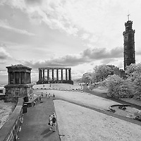 Infrared photo of Carlton Hill, Edinburgh, Scotland