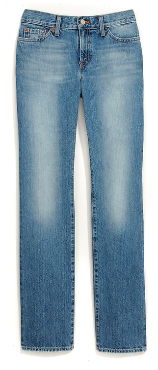 gap blue jeans photographed on a white background