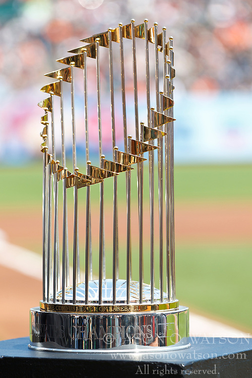 SAN FRANCISCO, CA - AUGUST 25: Detailed view of the 2010 World Series trophy on display before the game between the San Francisco Giants and the Atlanta Braves at AT&T Park on August 25, 2012 in San Francisco, California. The Atlanta Braves defeated the San Francisco Giants 7-3. (Photo by Jason O. Watson/Getty Images) *** Local Caption ***