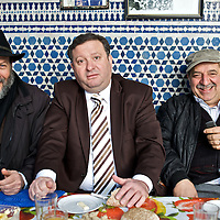 The mellah is the historic home of Marrakesh's Jewish community.  Only a few Jewish families remain as most moved to Casablanca, Israel or France during the 1950's.  These three men were visiting at the local synagogue.