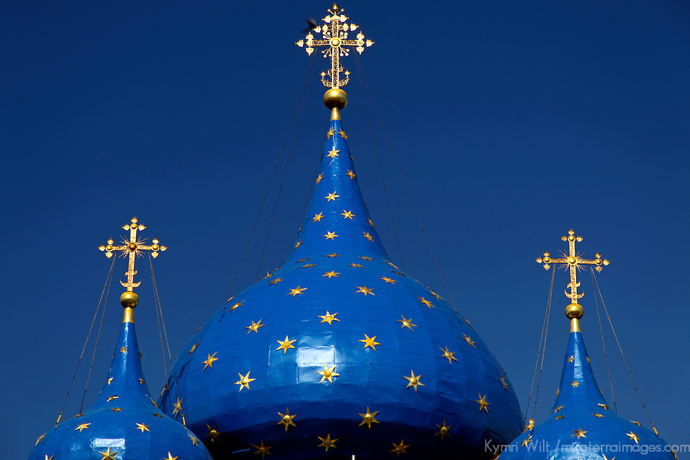 Europe, Russia, Suzdal. Blue starred domes of the Cathedral of the Nativity of the Theotokos, a UNESCO World Heritage SIte.