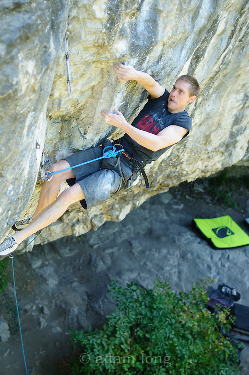 Char Williams on Mecca, 8b+, Raven Tor, Peak District