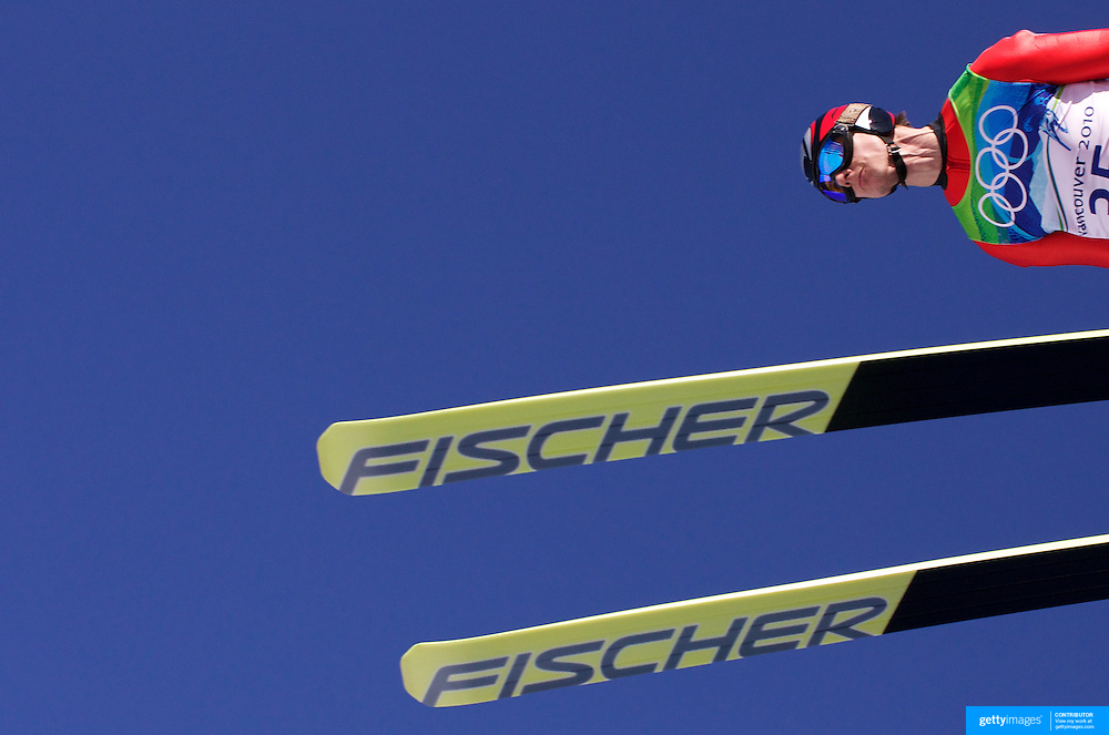 Winter Olympics, Vancouver, 2010.The neck muscles strain as Andreas Wank, Germany take off from the ski jump during the first round of the Ski Jumping Men's LH at Whistler Olympic Park, Whistler, during the Vancouver Winter Olympics. 20th February 2010. Photo Tim Clayton