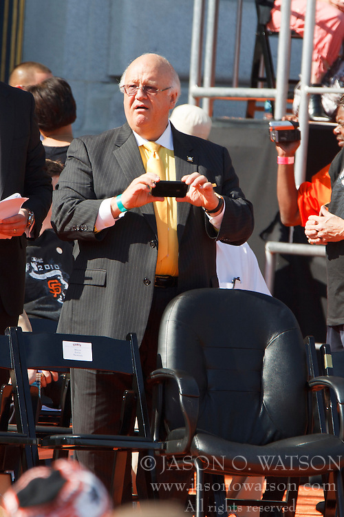 November 3, 2010; San Francisco, CA, USA;  San Francisco Giants hall of fame radio broadcaster Jon Miller at the World Series victory parade at City Hall.