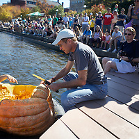 .On Saturday October 8, 2011 the  8th annual Giant Pumpkin Regatta was held at the Memorial Union on Lake Mendota in Madisonb, Wisconsin. The event was a partnership between the Hoofer Sailing Club and the UW-Madison Horticulture Department to race these giant  squash. These giant pumpkins were developed by Professor Jim Nienhuis.