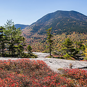 """For views of fall leaf colors and Mount Passaconaway (4043 ft) in White Mountain National Forest, hike the rocky UNH Loop Trail (4.8 miles, 1600 feet gain) on Hedgehog Mountain in the Sandwich Range Wilderness in New Hampshire, USA. The peak intensity of autumn foliage color here is around the first week of October. Find the trailhead parking area marked """"Downes Brook - UNH - Mt. Potash Trails"""" along Kancamagus Highway (NH Route 112) across from Passaconaway Campground and Passaconaway Historic Site. The White Mountains (a range in the northern Appalachians) cover a quarter of the state of New Hampshire. The panorama was stitched from 2 overlapping photos."""